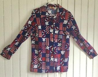 Ladies 70's Mod Blouse Patriotic