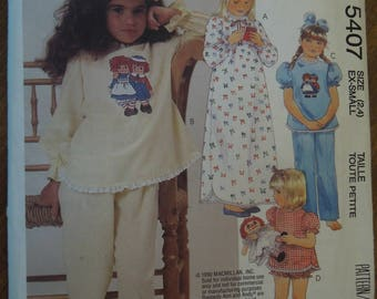 McCalls 5407, sizes 2,4 or ex-small, girls, children's, nightgown, pajamas and transfer, UNCUT sewing pattern, craft supplies