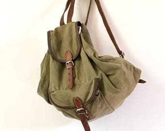 Vintage Canvas Backpack. Army Canvas Rucksack. Green Canvas Rucksack. Army Rucksack. Canvas Bag. Small Canvas Rucksack. Small Backpack