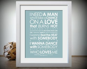 Whitney Houston - I Wanna Dance With Somebody - LYRICS print. With PERSONALISED MESSAGE [Digital file, Print or Framed] Free-Delivery