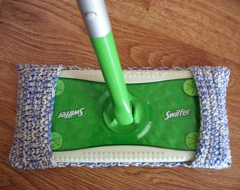 Crocheted Swiffer Pad, Reusable Mop Cover, Swiffer Duster, Eco-Friendly Duster-French Blue/Canary
