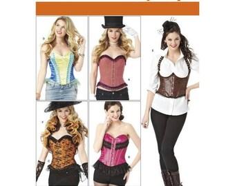 1345, Simplicity, Women's, Corset, Ruffle Bottom, Ruffle Shrug, Steampunk, Victorian, historical corset, cosplay, edwardian, Halloween,