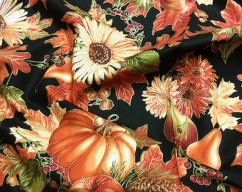 Harvest Black CM6446 Autumn Patchwork Quilting Fabric Timeless Treasures