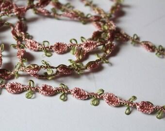 Pink Rosebud Trim, 3 Yards, Chain Embroidered Rose Bud, Shabby Chic Trim Primrose, Sewing, Crafting Scrapbooking Rosette Trims, Yardage