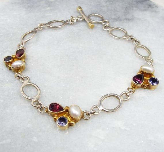 Vintage / Sterling Silver Genuine Pearl Garnet & Tanzanite Link Bracelet 925