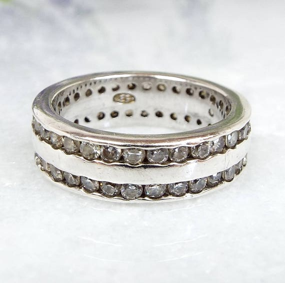 Vintage / Sterling Silver Double Row Crystal Wide Band Stacking Ring / Size K