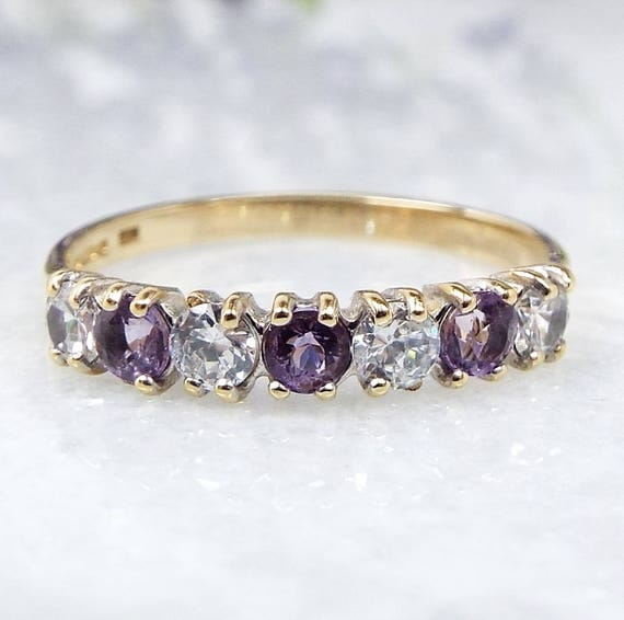 Vintage / 9ct Gold Dainty Amethyst and Crystal Half Eternity Band Ring / Size M 1/2