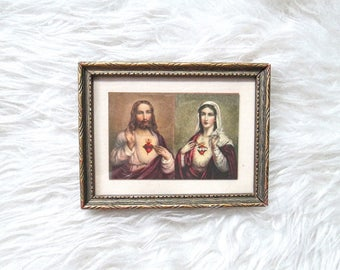Vintage JESUS and Virgin MARY Sacred Heart RELIGIOUS Framed Picture Wall Decor
