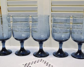 Vintage Pfaltzgraff Yorktowne Wine Water Glass Goblet Set of 5 Blue Glassware Stemware Replacement PanchosPorch