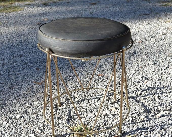 Vintage Brass Drum Vanity Stool Black Upholstered Seat Round Bench Seat Hollywood Regency PanchosPorch