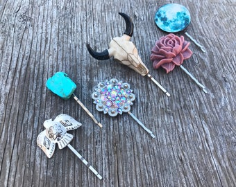 Wild Heart-Set of 6 Bohemian Hair Pins, Bobby Pins, Longhorn, Berry Concho, Turquoise Stone, Thunderbird, Rose, Full Moon, Boho, Gypsy
