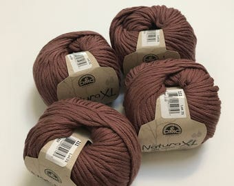 Natura XL Bulky Cotton Yarn in Clay // 4 Skein Pack // Stash Sale