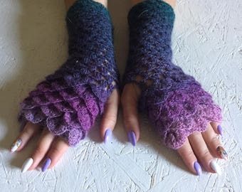Fingerless Gloves, dragon scale gloves women fingerless Crocheted Arm Warmers ,fingerless gloves Autumn Fingerless, crocodile stick