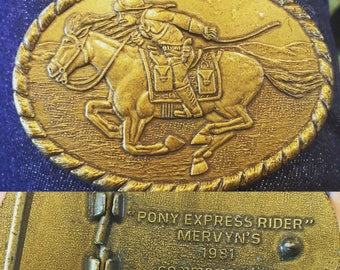 Vintage pony express 80's belt buckle