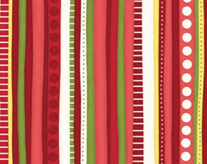 """21"""" REMNANT Christmas Pure & Simple - Multi Stripe in Red - Cotton Quilt Fabric - Nancy Halvorsen for Benartex - Pure and Simple (W1768)"""