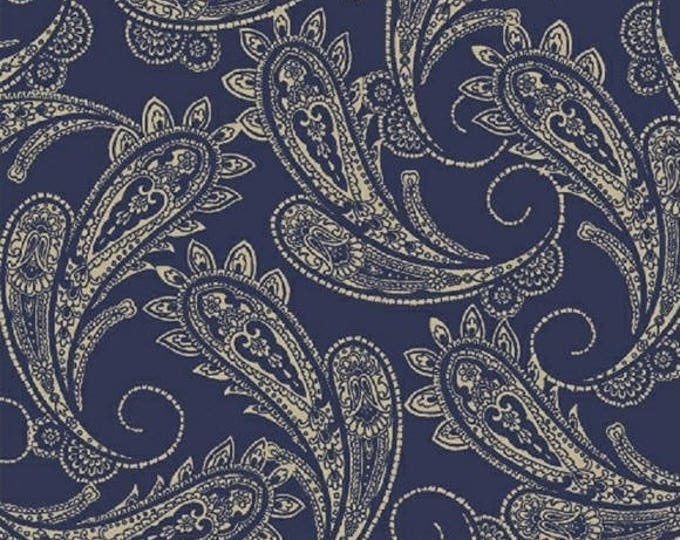 """11"""" Remnant RANCH HANDS - Bandana in Blue - Adorable Cowboy Cotton Quilt Fabric - Whistler Studios for Windham Fabrics - 42580-1 (W3980)"""