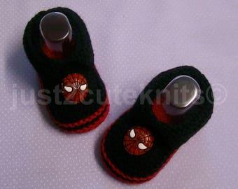 Hand Knitted Designer Baby Boy Booties Slippers Spiderman Newborn Special Occasion Baby Shower Original Reborn Doll #88