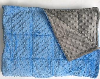 Grey/sky blue minky weighted blanket Anxiety Autism Adhd Sleep 35X40 & 40X60