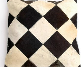 Natural Cowhide Luxurious Patchwork Hairon Cushion/pillow Cover (15''x 15'')a159