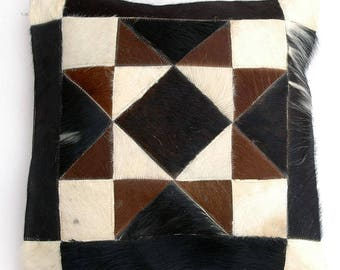 Natural Cowhide Luxurious Patchwork Hairon Cushion/pillow Cover (15''x 15'')a163