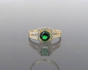 Vintage 18K Solid Yellow Gold Tsavorite & White Topaz Ring Size 6.5