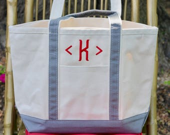 Monogrammed Canvas Tote Bag Gray Medium   Monogrammed Travel Bag   Canvas Luggage   Monogrammed Travel Gift   Wedding Gift   Gifts for Her