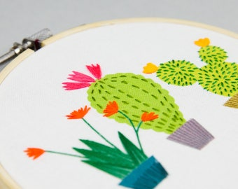 cactus DIY embroidery hoop print, printed fabric design to stitch yourself