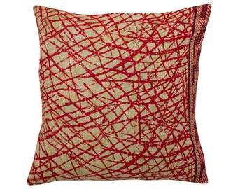 Kantha Cushion Cover - Red and Beige