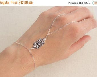 Close Out Sale Sterling Silver Slave Finger to Wrist Bracelet