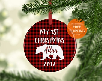 First Christmas ornament baby boy personalized plaid bear