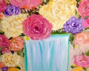 "Still life  painting, ""BLOOM"" pink peonies, peach peonies, peony roses gerbera still life orange ruby red wild flowers California rose"