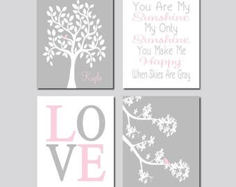 Gray Pink Nursery Tree Baby Girl Decor Set of 4 Prints Or Canvas Wall Art You Are My Sunshine Love Bird Nursery Baby Girl Nursery Art