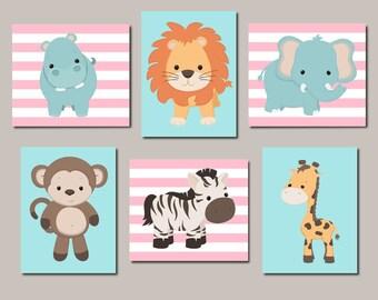 Girl Nursery Decor Zoo Animal Nursery Art Jungle Animals Safari Animals Set of 6 Prints Or Canvas Nursery Wall Art Baby Animal Prints