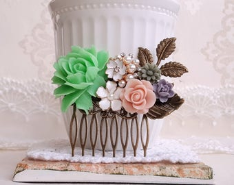 Fresh green rose white and blush roses bridal country garden hair accessory Antique inspired wedding comb