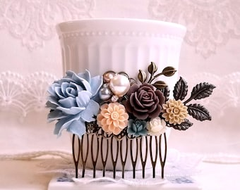 Dusty blue brown and camel flowers Pearl assemblage Something blue Rustic flower comb Shabby chic jewelry