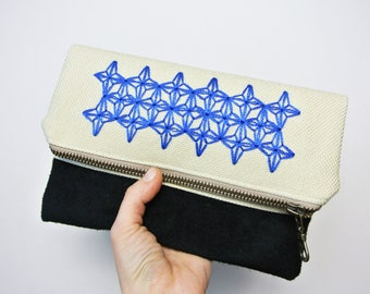 Fold over Embroidered Clutch Bag / Black Suede and Linen