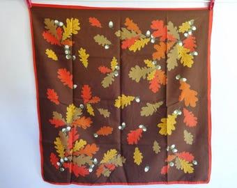 "Vintage Autumn leaf acorn Scarf  68cm x 67cm / 26.7"" x 26.3"""