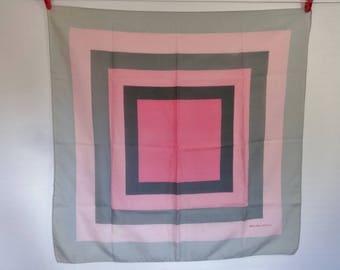 Vintage Scarf Pink Grey Michelangelo Geometric 76cm x 78cm