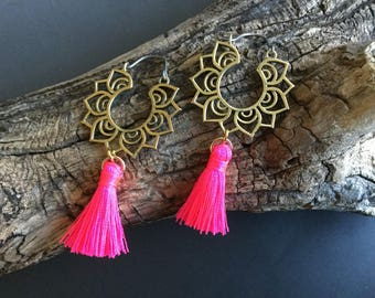 Bright pink tassel and brass earrings with titanium earring wires