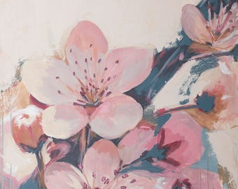 abstract pink and blue cherry blossoms painting farmhouse art mid century flower prints
