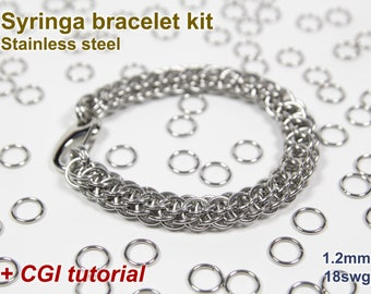 Syringa Bracelet Kit, Chainmaille Kit, Stainless Steel, Chainmail Kit, Jump Rings, Lobster Clasp, Syringa Tutorial, Chainmail Tutorial