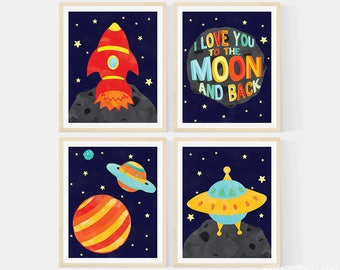 Kids Wall Art, I love you to the moon and back - Outer Space Nursery Art , Set of 4-  8x10 Prints , Featuring A Rocket, Spaceship, & Planets