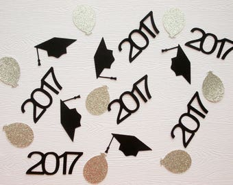 Graduation Party Decoration, 2017 Confetti, Graduation Confetti, Glitter Silver Balloon Confetti, 100 Ct.