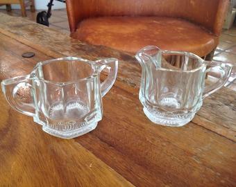 Vintage Heisey glass heavy hexagonal cream and sugar
