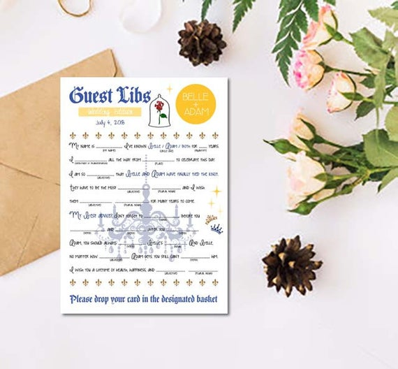 Beauty And The Beast Novel Pdf: Beauty And The Beast Inspired Disney Guest Book Mad Libs
