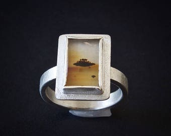 Montana Agate Ring, Sterling Silver Ring With Montana Picture Agate Gemstone, Size 7, Sunset Montana Agate, Dendritic Agate