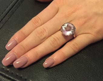 Valentines Day Special: 18K Gold & 925 Sterling Silver Topaz Solitaire Ring -Large Vintage 18K Gold over 925 Sterling Silver Topaz Solitaire