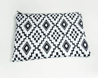 Black & White Bag - Geometric Cosmetic Bag - Monogrammed Makeup bag -  Bridesmaid Bag - Bohemian Gifts - Medium