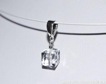 SWAROVSKI Crystal white cube pendant / 925 sterling silver