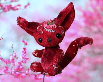 Fantasy Creature Toy Fantasy Animal  Magical Art Toy Miniature ooak toy 3,5 inch Enik Fiore Rosso